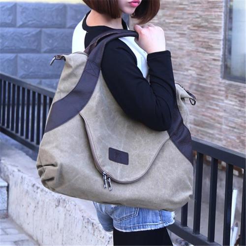 Minimalist Style Large Capacity Canvas Tote Crossbody Shoulder Bag