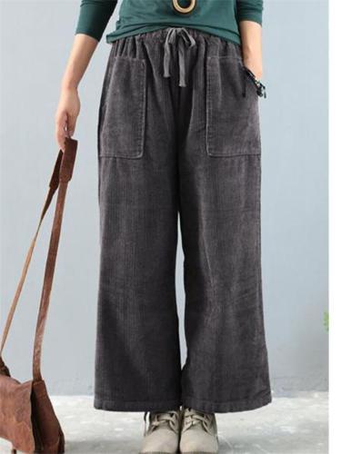 Vintage Style Wide Leg Front Tie Up Pocket Pants