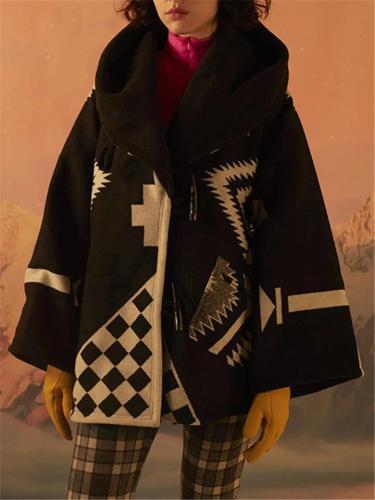 Women's Long Sleeve Plaid Printed Hoodie Woolen OverCoat