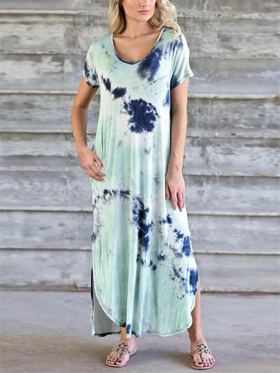 Loose Fit V Neck Short Sleeve Side Slit Tie-Dye Maxi Dress