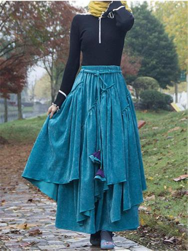 Vintage Style Asymmetric Design Winter Thicken Flare Corduroy Skirt