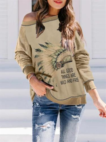 Casual Fit Round Neck Front Printed Long Sleeve Pullover Tops