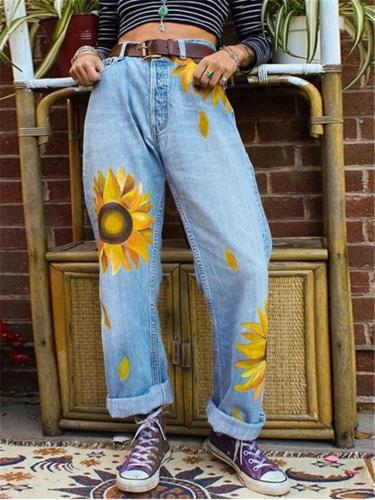 Relaxed Fit Sunflower Printed Washed Effect Denim Pants