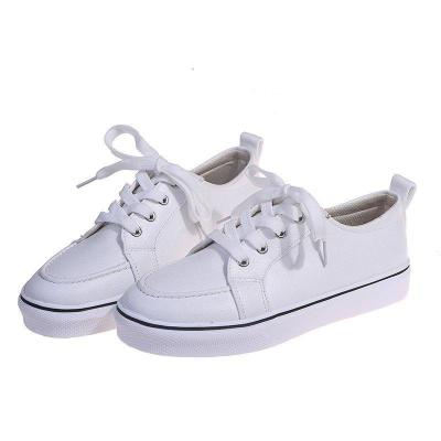Casual Style Low-Cut Non-Slip Lace Up Flat Canvas Sneakers