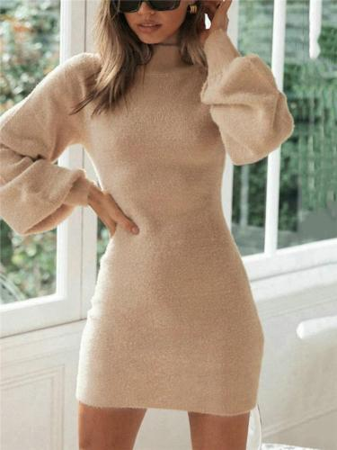 Soft Touch Apricot High Neck Solid Color Pullover Mini Dress