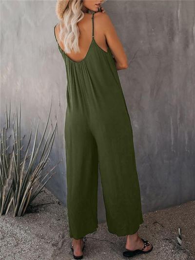 Trendy Scoop Neck Strappy Sleeveless Pocket Wide Leg Jumpsuit