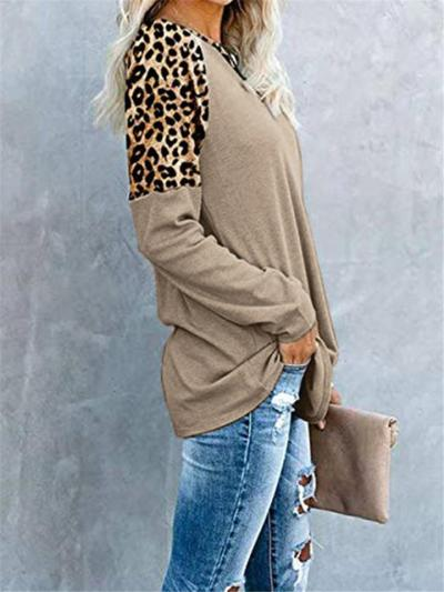 Casual Fit Long Sleeve Round Neck Leopard Pattern Pullover Tops