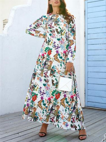 Bohemian Style Round Neck Floral Printed Long Sleeve Maxi Dress