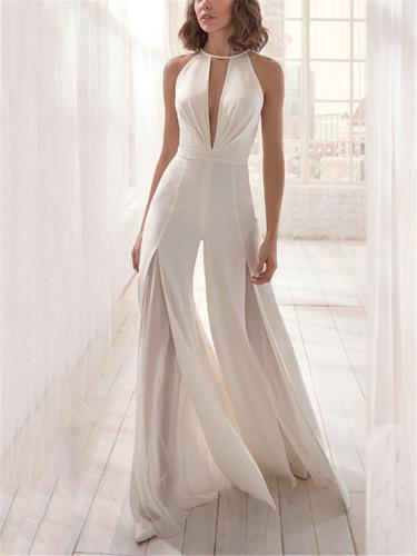 Sexy Pretty Plunging V Neck Open Back Lining Front Slit Jumpsuit