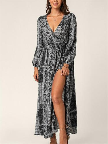 Bohemian Style Floral Sleeve Side Slit Elastic Waist Lantern Sleeve Maxi Dress
