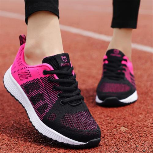 Casual Breathable Mesh Lace Up Low-Cut Non-Slip Flat Sneakers
