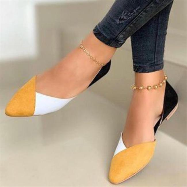Lightweight Contrasting Pointed Toe Flat Heel Slip On Loafers