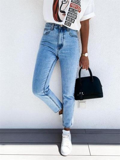 Casual Style Multi-Pocket Straight Leg Denim Pants