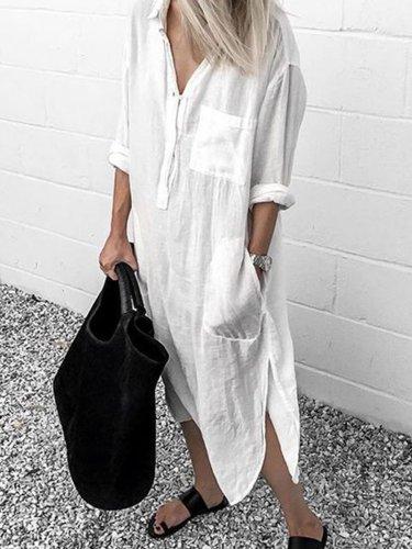 V Neck Casual Long Sleeve Cotton-Blend Dresses