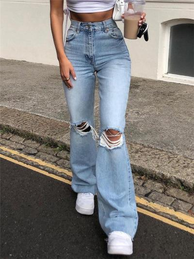 High-Rise Faded Effect Distressed Straight Fit Flare Style Jeans