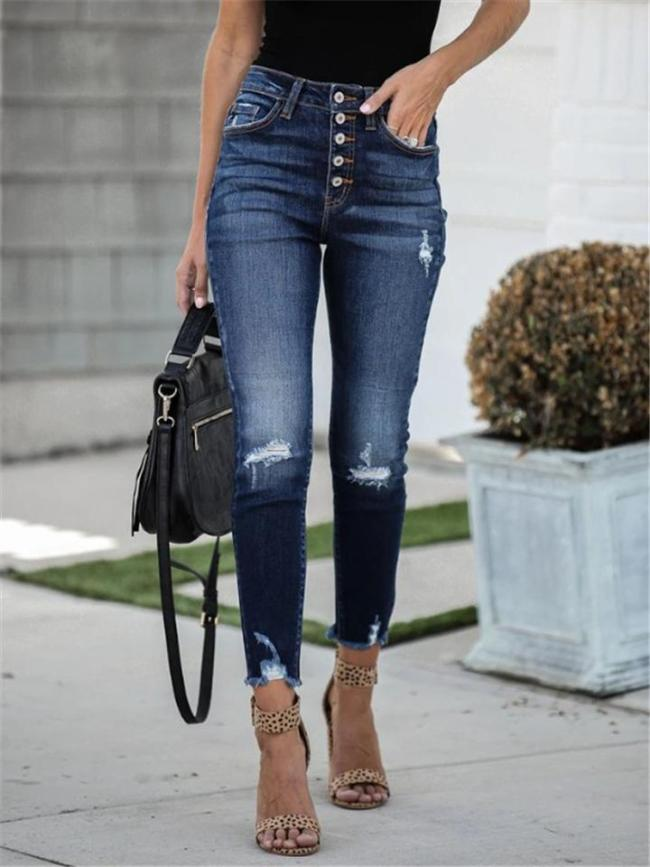 Slim Fit High-Rise Ripped Frayed Cuff Elastic Ankle Jeans