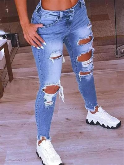 Low-Rise Distressed Design Frayed Edges Regular Length Skinny Jeans
