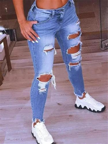 Low-Rise Distressed Design Frayed Edges Regular Length Skinny Jeans