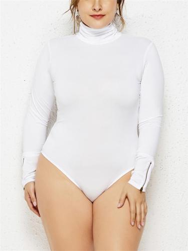 Slim Fit Turtleneck Long Sleeve Solid Color Basic Bodysuit