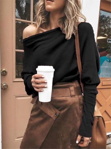 Comfortable Off-The-Shoulder Ribbed Knit Shirt