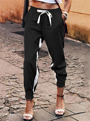Taper Elastic Waist Drawstring Striped Slash Pocket Jogger Pants