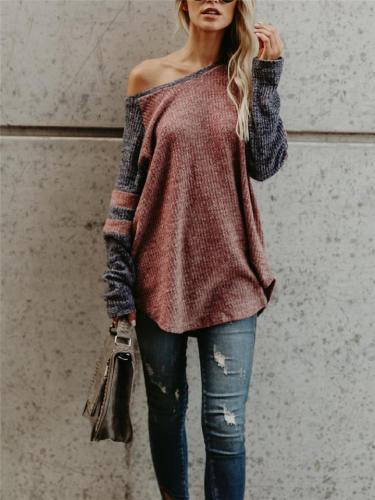 Relaxed Fit Color Block Long Sleeve Knit Top
