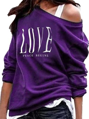 Stylish Off Shoulder Long Sleeve Pullover Tops