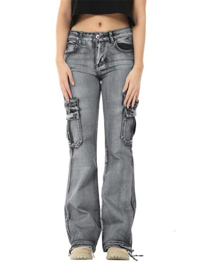Casual Style Mid-Rise Zipper Multi-Pocket Straight Leg Jeans