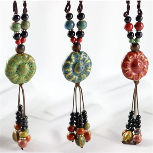 Vintage Ceramics Beads Tassels Flower Pendant Rope Long Necklace for Women Gift for Her