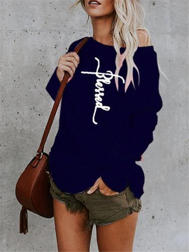 Casual Printing Long Sleeve Asymmetrical Midi T-shirt