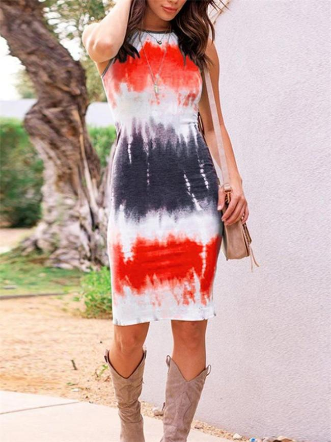 Fashionable Racerback Sleeveless Tie-Dye Bodycon Midi Dress