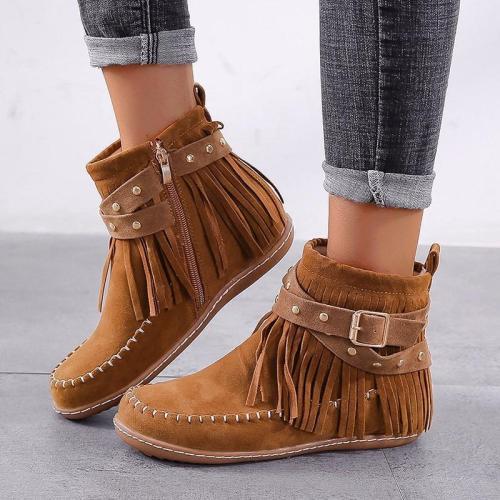 Bohemian Suede Tassel Rivet Decor Buckled Flat Ankle Boots