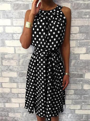 Trendy Halter Neck Polka Dot Sleeveless Waist Tie Knee-Length Dress
