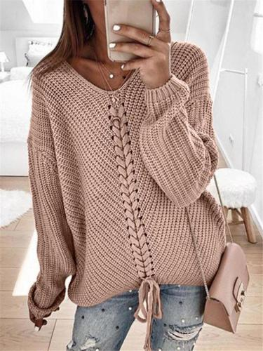 Loose Casual Splicing Lace-up Solid Color Sweaters For Winter