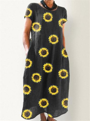 Loose Fit Round Neck Sunflower Short Sleeve Pocket Maxi Dress