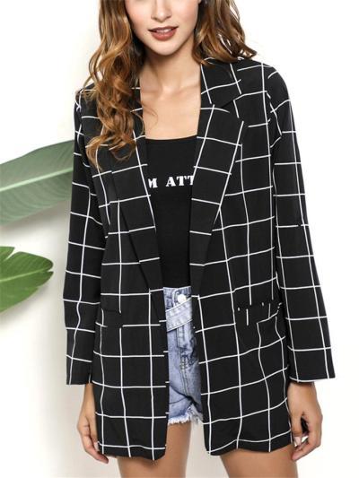 Stylish Long Sleeve Notched Lapel Collar Plaid Pocket Blazer Coat