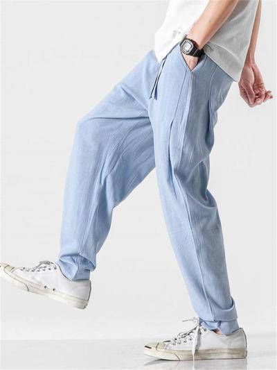 Mens Casual Linen Harem Ankle Pants