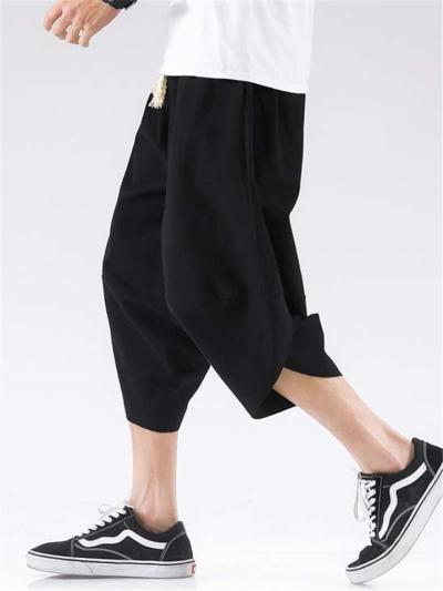 Fashion Loose Fit Casual Solid Color Cropped Trousers