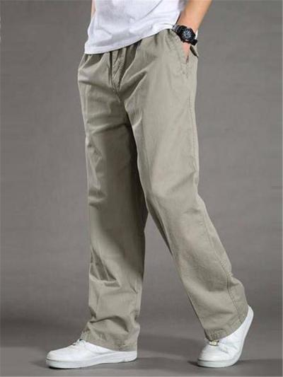 Mens Casual Straight Loose Solid Color Pants