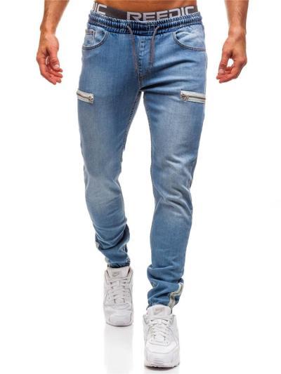 Casual Drawstring Zipper Design Denim Pants