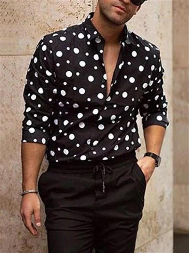 Casual Fit Polka Dot Button Up Lapel Collar Long Sleeve Shirt