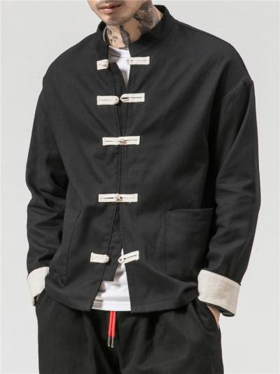 Chinese Style Button Up Pocket Long Sleeve Cotton Linen Shirt