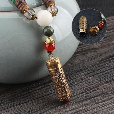 Ethnic Style Buddhism Shimmery Gold-Tone Pendant Beaded Necklace
