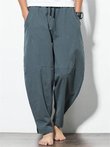 Men's Solid Color Flax Breathable Casual Harem Pants