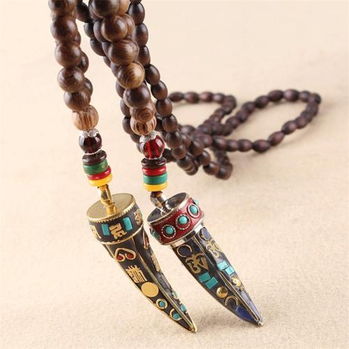 Fabulous Design Ethnic Horn Shaped Pendant Beaded Necklace