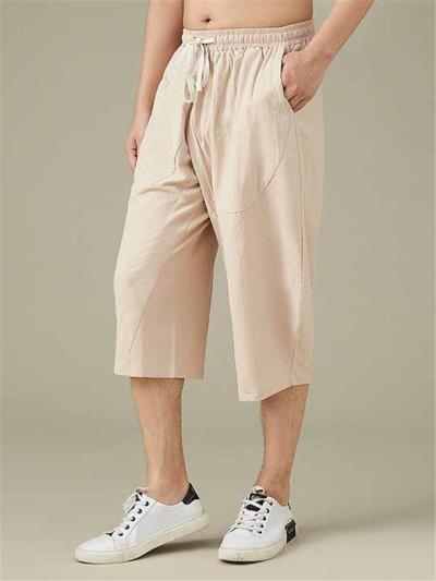 Men's Comfy Loose Cotton&Linen Cropped Pants