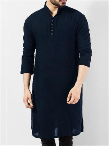Men's Indian Traditional Kurta Solid Color Cotton Long Shirts Ethnic Outfits
