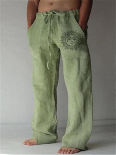 Mens Casual Elastic Waist Drawstring Sun Print Pants