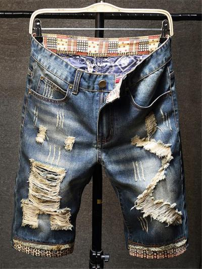 Men's Retro Style Ripped Patchwork Denim Shorts