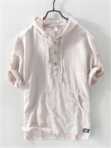 Mens Breathable Contrast Color Cotton&Linen Drawstring Hooded Shirts